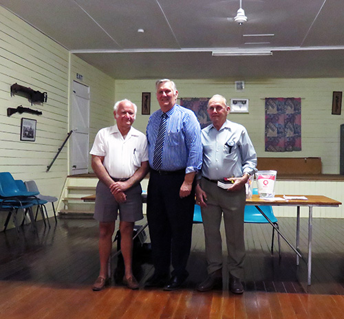L to R – Ted Malone MP, Assistant Minister for Emergency Volunteers; Sid Hoare, Peter Craig